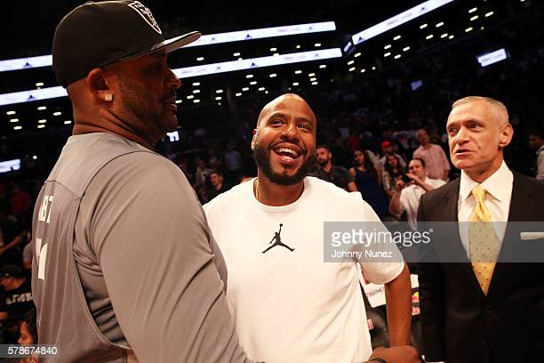 Sabathia and Juan OG Perez attend the 2016 Roc Nation Summer Classic Charity Basketball Tournament at Barclays Center of Brooklyn on July 21 2016 in...