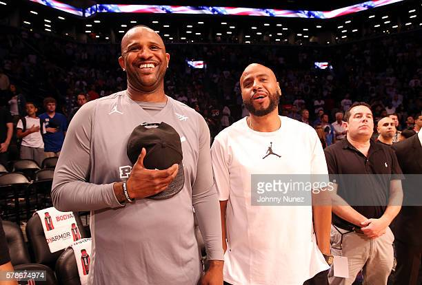 CC Sabathia and Juan OG Perez attend the 2016 Roc Nation Summer Classic Charity Basketball Tournament at Barclays Center of Brooklyn on July 21 2016...