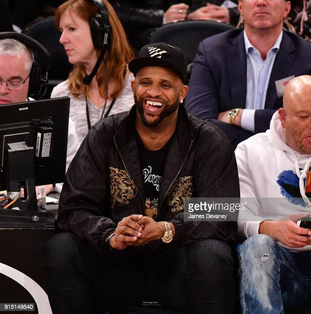 Sabathia attends the New York Knicks vs Milwaukee Bucks game at Madison Square Garden on February 6 2018 in New York City