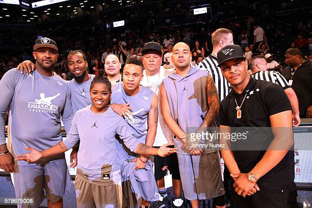 CC Sabathia BreZ Fat Joe Rotimi Shawn Pecas Costner DJ Envy and TI attend the 2016 Roc Nation Summer Classic Charity Basketball Tournament at...