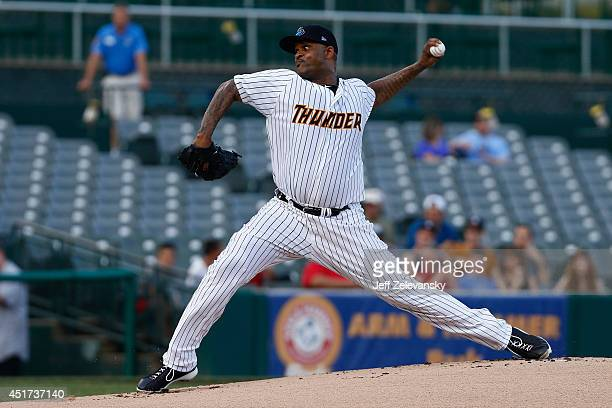 CC Sabathia delivers during a rehab start for the Trenton Thunder during their game against the Portland Sea Dogs at Arm Hammer Park on July 2 2014...