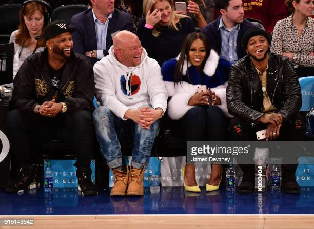 Sabathia guest Remy Ma and Papoose attend the New York Knicks vs Milwaukee Bucks game at Madison Square Garden on February 6 2018 in New York City