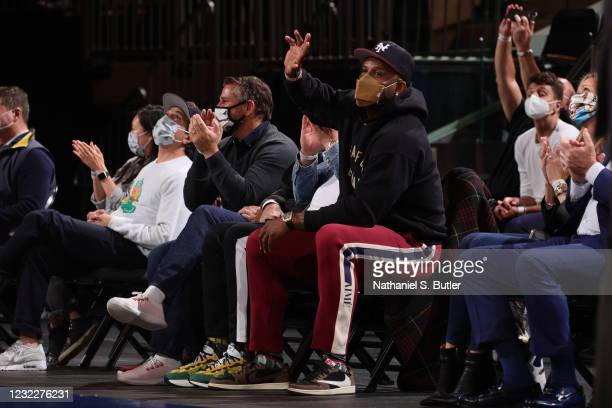 Sabathia looks on during the game between the Los Angeles Lakers and the New York Knicks on April 12, 2021 at Madison Square Garden in New York City,...