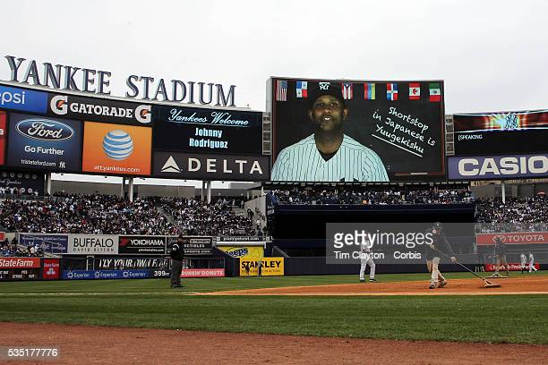 CC Sabathia New York Yankees on the stadium screen helping fans with Japanese language lessons before the New York Yankees V Baltimore Orioles home...