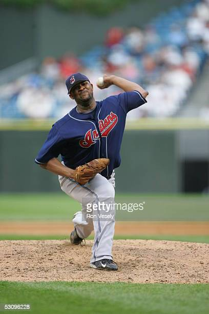 C Sabathia of the Cleveland Indians delivers a pitch during the game against the Chicago White Sox at US Cellular Field on June 5 2005 in Chicago...
