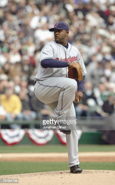 C Sabathia of the Cleveland Indians pitches during the opening day game against the Chicago White Sox on April 2 2007 at US Cellular Field in Chicago...