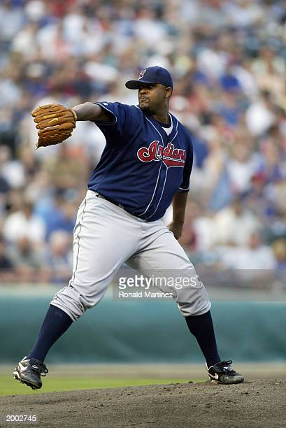 C Sabathia of the Cleveland Indians throws a pitch during the game against the Texas Rangers at the Ballpark in Arlington on May 10 2003 in Arlington...