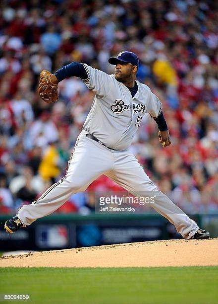 Sabathia of the Milwaukee Brewers delivers in Game 2 of the NLDS Playoff against the Philadelphia Phillies at Citizens Bank Ballpark on October 2,...