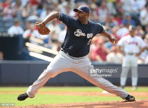C C Sabathia of the Milwaukee Brewers pitches against the Atlanta Braves at Turner Field on August 2 2008 in Atlanta Georgia