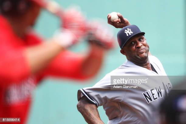 Sabathia of the New York Yankees delivers in the first inning of a game against the Boston Red Sox at Fenway Park on July 16, 2017 in Boston,...