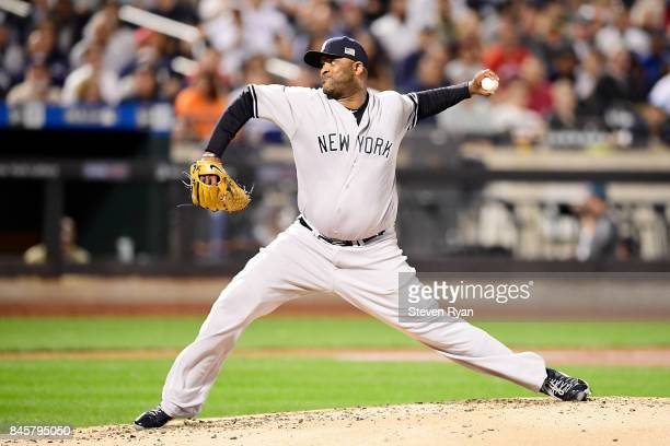 Sabathia of the New York Yankees delivers the pitch during the third inning against the Tampa Bay Rays at Citi Field on September 11 2017 in the...