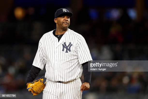 Sabathia of the New York Yankees gestures against the Toronto Blue Jays during the fifth inning at Yankee Stadium on April 19 2018 in the Bronx...