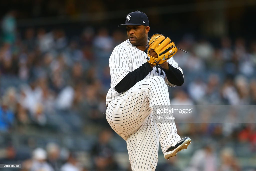 CC Sabathia #52 of the New York Yankees in action against the Boston Red Sox at Yankee Stadium on May 10, 2018 in the Bronx borough of New York City. Boston Red Sox defeated the New York Yankees 5-4.