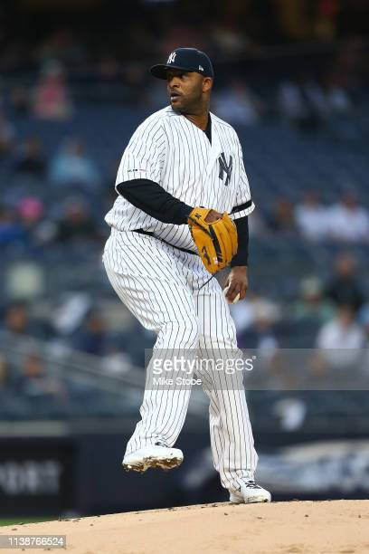 Sabathia of the New York Yankees in action against the Kansas City Royals at Yankee Stadium on April 19 2019 in New York City New York Yankees...