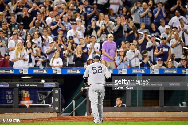 Sabathia of the New York Yankees is taken out of the game during the fifth inning against the Tampa Bay Rays at Citi Field on September 11 2017 in...