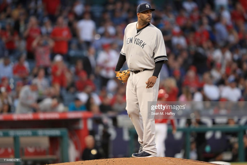 7b97ec21a4567 CC Sabathia of the New York Yankees looks on after allowing a solo ...