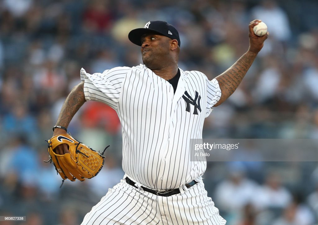 CC Sabathia #52 of the New York Yankees pitches against the Houston Astros during their game at Yankee Stadium on May 29, 2018 in New York City.