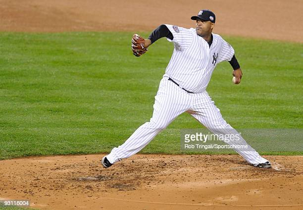 Sabathia of the New York Yankees pitches against the Philadelphia Phillies in Game One of the 2009 World Series during the 2009 MLB Playoffs at...