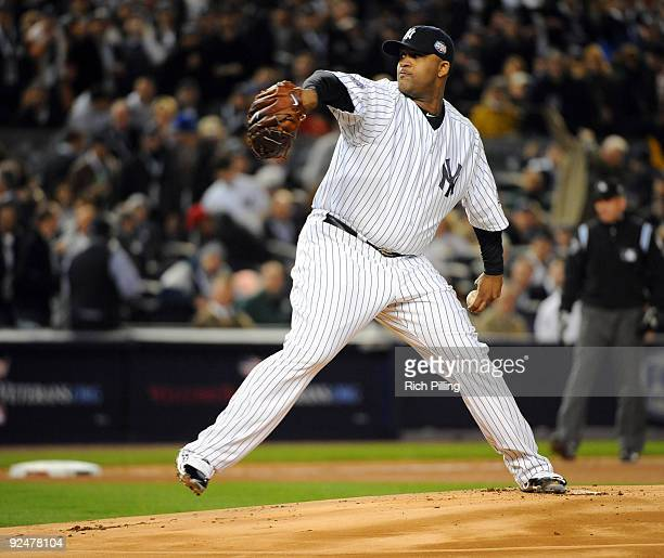 Sabathia of the New York Yankees pitches during Game 1 of the 2009 World Series between the Philadelphia Phillies and the New York Yankees at Yankee...