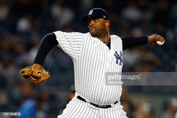 Sabathia of the New York Yankees pitches in the first inning against the Baltimore Orioles at Yankee Stadium on September 21 2018 in the Bronx...