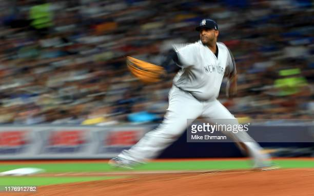 Sabathia of the New York Yankees pitches in the fourth inning during a game against the Tampa Bay Rays at Tropicana Field on September 24, 2019 in St...