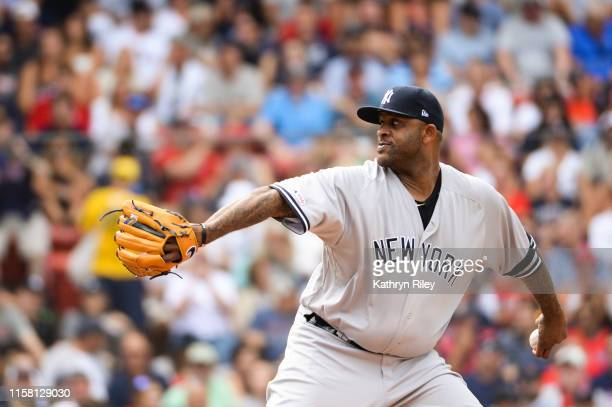 Sabathia of the New York Yankees pitches in the second inning against the Boston Red Sox at Fenway Park on July 27, 2019 in Boston, Massachusetts.
