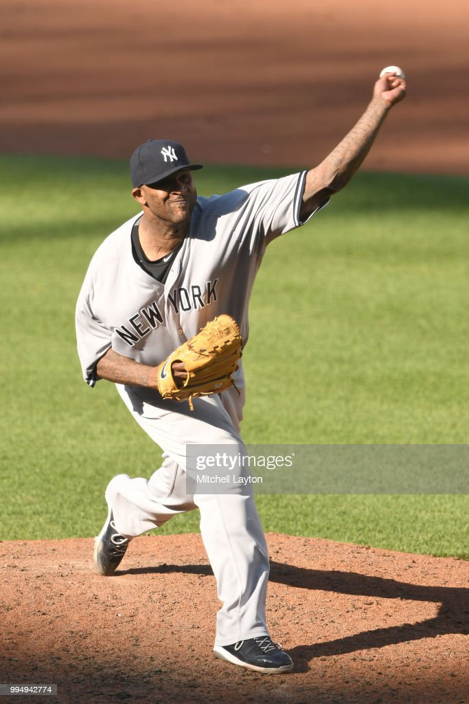 CC Sabathia #52 of the New York Yankees pitches in the sixth inning during a game one of a doubleheader baseball game against the Baltimore Orioles at Oriole Park at Camden Yards on July 9, 2018 in Baltimore, Maryland.