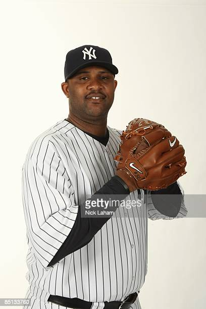 Sabathia of the New York Yankees poses during Photo Day on February 19 2009 at Legends Field in Tampa Florida