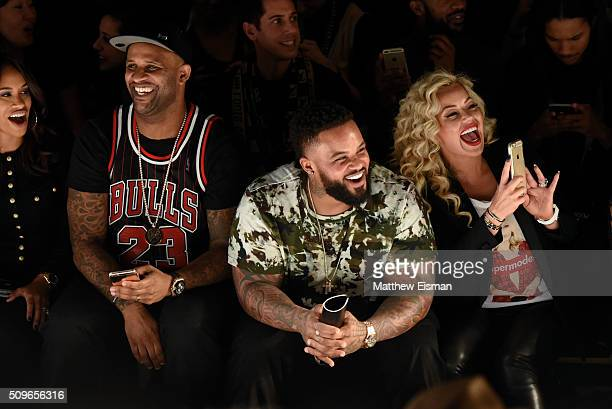 CC Sabathia of the New York Yankees Prince Fielder of the Texas Rangers and Chanel Fielder attend Rookie USA Presents Kids Rock Front Row Backstage...