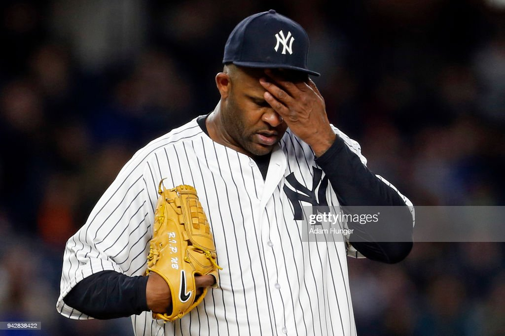 CC Sabathia #52 of the New York Yankees reacts against the Baltimore Orioles during the second inning at Yankee Stadium on April 6, 2018 in the Bronx borough of New York City.