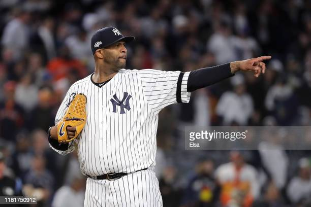 Sabathia of the New York Yankees reacts against the Houston Astros during the eighth inning in game four of the American League Championship Series...