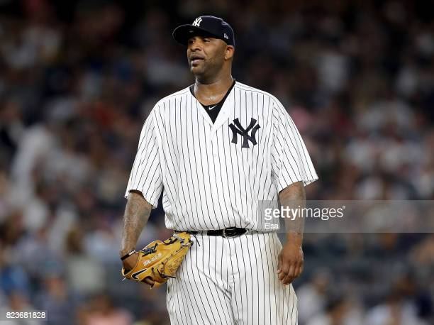 Sabathia of the New York Yankees reacts as he is pulled from the game in the fifth inning against the Tampa Bay Rays on July 27 2017 at Yankee...