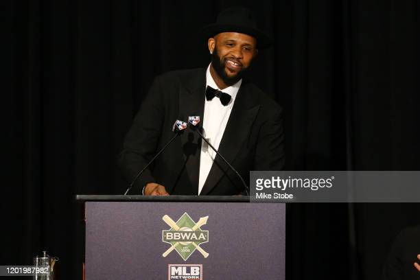 Sabathia of the New York Yankees speaks after receiving the William J SlocumJack Lang Award for Long and Meritorious Service during the 97th annual...