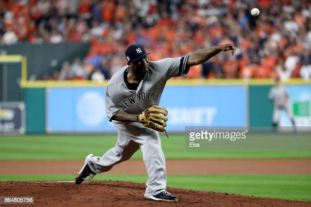 Sabathia of the New York Yankees throws a pitch against the Houston Astros during the second inning in Game Seven of the American League Championship...