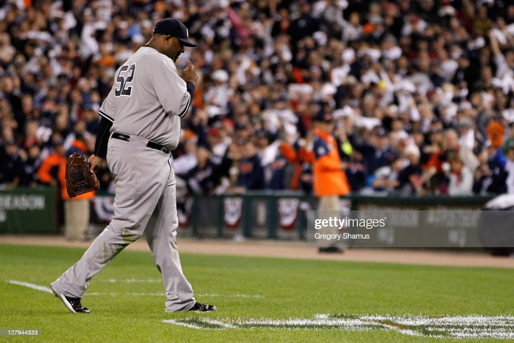 CC Sabathia #52 of the New York Yankees walks off the field after being pulled in the sixth inning of Game Three of the American League Division Series against the Detroit Tigers at Comerica Park on October 3, 2011 in Detroit, Michigan.