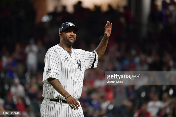 Sabathia of the New York Yankees waves to fans during the 2019 MLB AllStar Game presented by Mastercard at Progressive Field on July 09 2019 in...