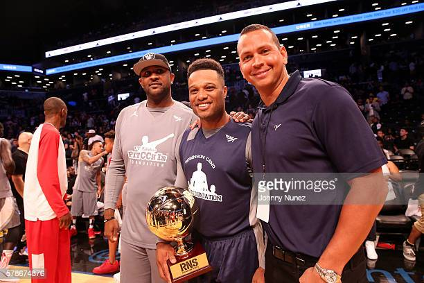CC Sabathia Robinson Cano and Alex Rodriguez attend the 2016 Roc Nation Summer Classic Charity Basketball Tournament at Barclays Center of Brooklyn...