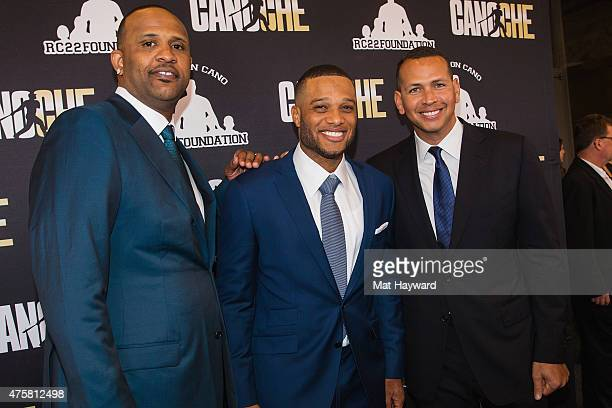 CC Sabathia Robinson Cano and Alex Rodriguez attend the Canoche Benefit for the RC22 Foundation hosted by Robinson Cano at the Paramount Theatre on...
