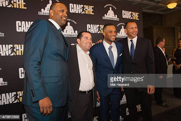 CC Sabathia Ron Berkowitz Robinson Cano and Alex Rodriguez attend the Canoche Benefit for the RC22 Foundation hosted by Robinson Cano at the...
