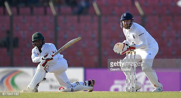 Sabbir Rahman of Bangladesh bats during the 4th day of the 1st Test match between Bangladesh and England at Zohur Ahmed Chowdhury Stadium on October...