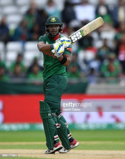 Sabbir Rahman of Bangladesh bats during the ICC Champions Trophy Semi Final between Bangladesh and India at Edgbaston on June 15 2017 in Birmingham...
