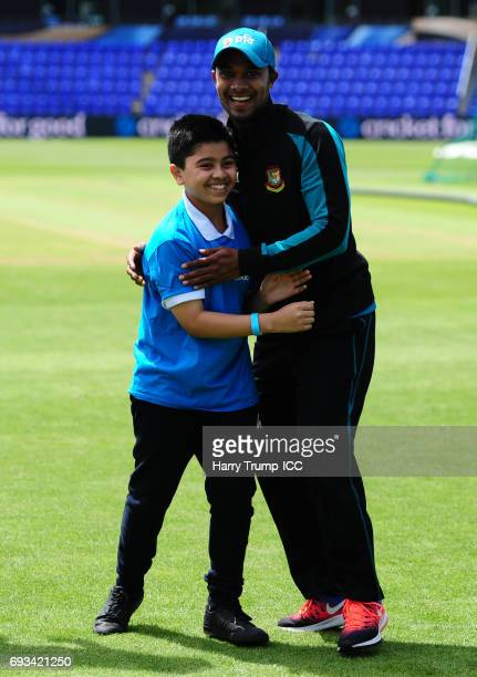 Sabbir Rahman of Bangladesh celebrates during the ICC Champions Trophy Cricket for Good Bangladesh event at the SWALEC Stadium on June 7 2017 in...