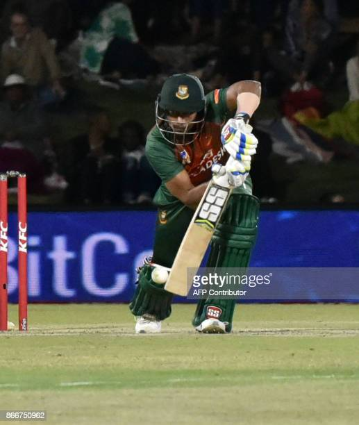 Sabbir Rahman of Bangladesh is in action during the first T20 international cricket match between South Africa and Bangladesh at The Mangaung Oval in...