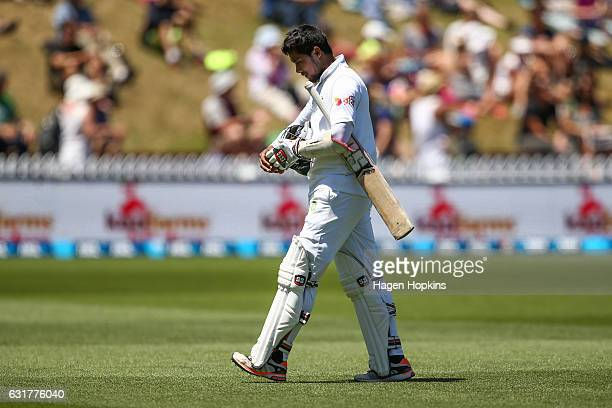 Sabbir Rahman of Bangladesh leaves the field after being dismissed during day five of the First Test match between New Zealand and Bangladesh at...