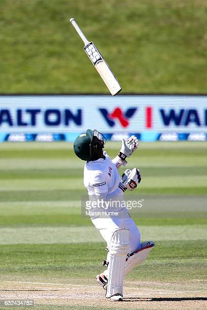 Sabbir Rahman of Bangladesh losses control of his bat during day four of the Second Test match between New Zealand and Bangladesh at Hagley Oval on...