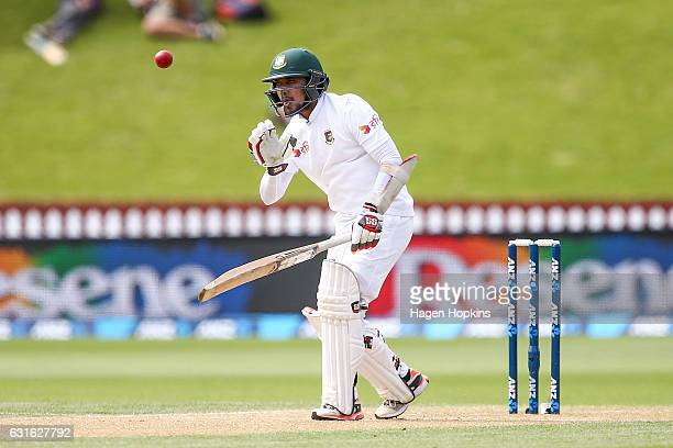 Sabbir Rahman of Bangladesh makes a call while batting during day three of the First Test match between New Zealand and Bangladesh at Basin Reserve...