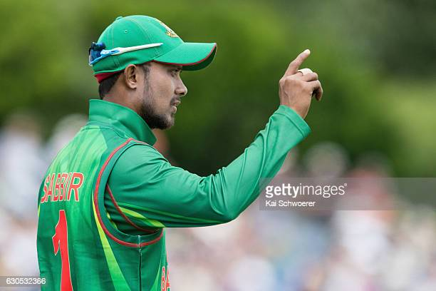Sabbir Rahman of Bangladesh reacting during the first One Day International match between New Zealand and Bangladesh at Hagley Oval on December 26...