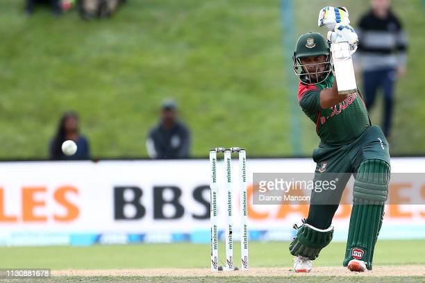 Sabbir Rahman Roman of Bangladesh bats during Game 3 of the One Day International series between New Zealand and Bangladesh at University Oval on...