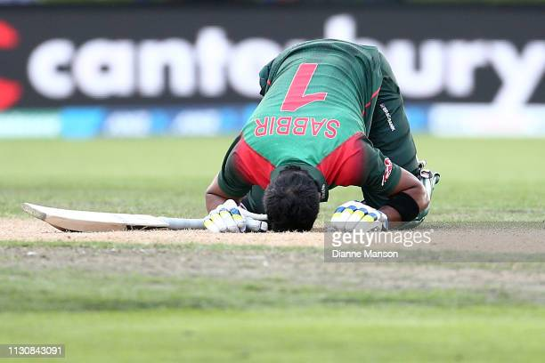 Sabbir Rahman Roman of Bangladesh celebrates his century during Game 3 of the One Day International series between New Zealand and Bangladesh at...