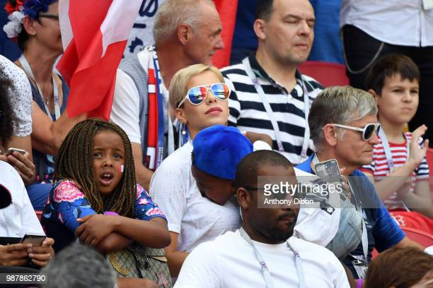 sabelle Matuidi wife of Blaise Matuidi during the FIFA World Cup Round of 16 match between France and Argentina at Kazan Arena on June 30 2018 in...